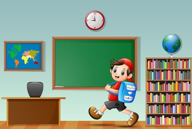 漫画の学校の男の子、教室