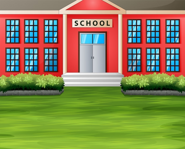 Cartoon a school building with green lawn