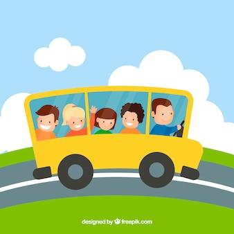 Cartoon school bus and children with flat design