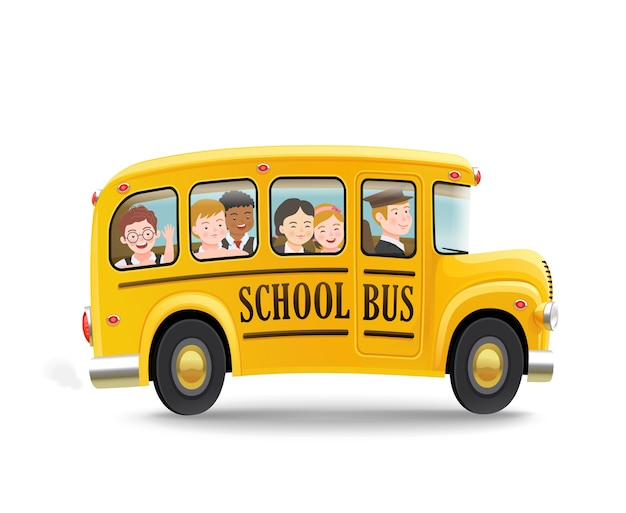 Мультяшный школьный автобус с детьми. снова в школу концепции. .