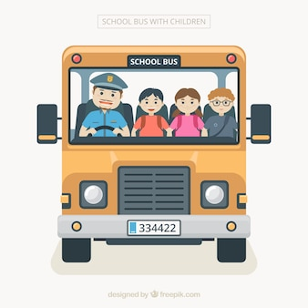 Cartoon school bus with children