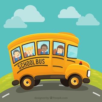 Cartoon school bus with children