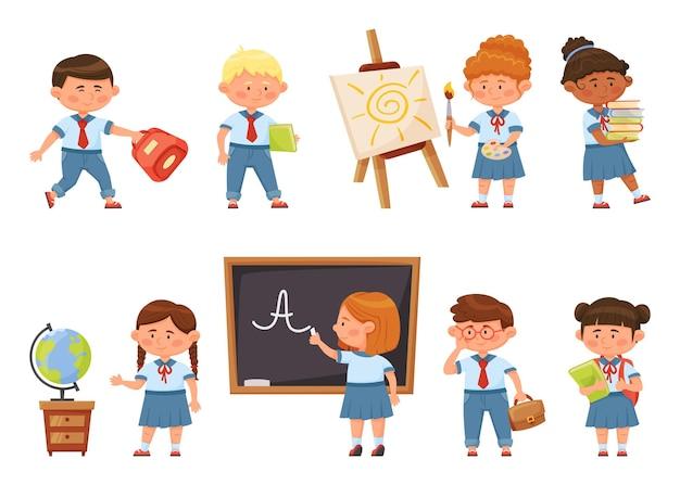 Мультфильм школьников в форме детей студентов с рюкзаками обратно в школу векторный набор