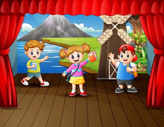 Cartoon school children on the stage