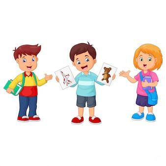 Cartoon school children with paper