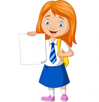 Cartoon school girl in uniform holding blank paper