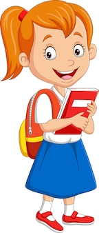 Cartoon school girl in uniform with book and backpack