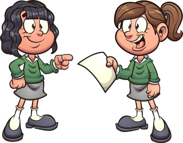 Мультфильм школьницы в униформе говорят