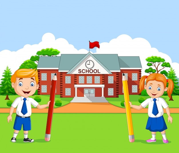 Cartoon school kids in the school yard
