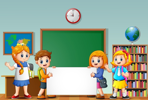 Cartoon school kids with blank sign in a classroom