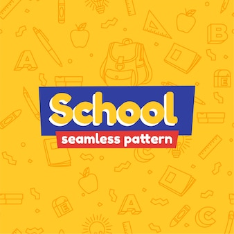 Cartoon school stationary seamless pattern
