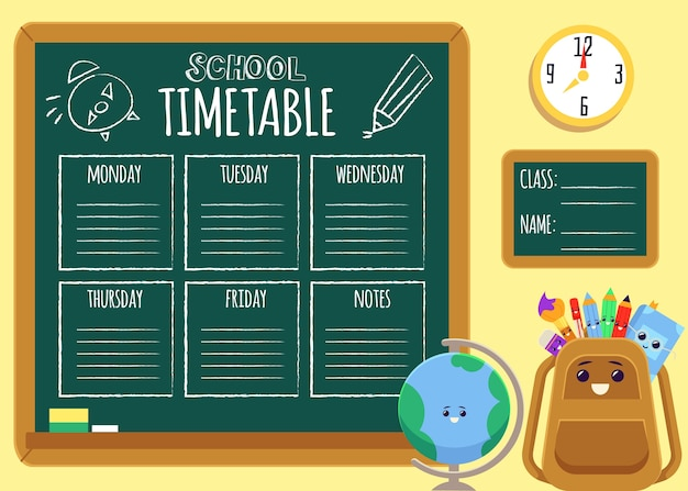 Cartoon school timetable on chalkboard with text template and cute backpack and globe characters smiling -   illustration poster.