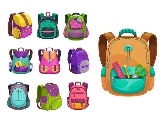Cartoon schoolbags icons, kids school bags, knapsacks and rucksacks