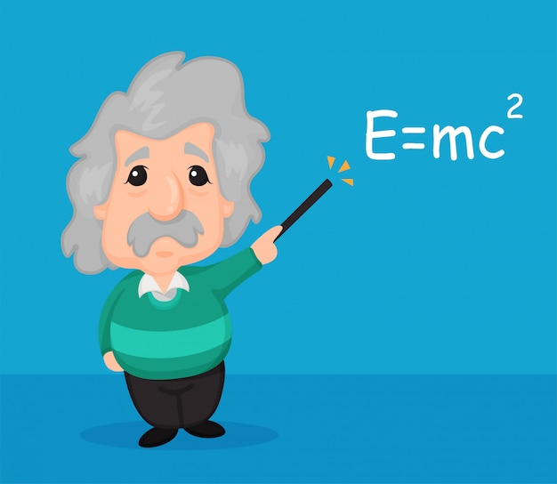 Cartoon scientist albert einstein