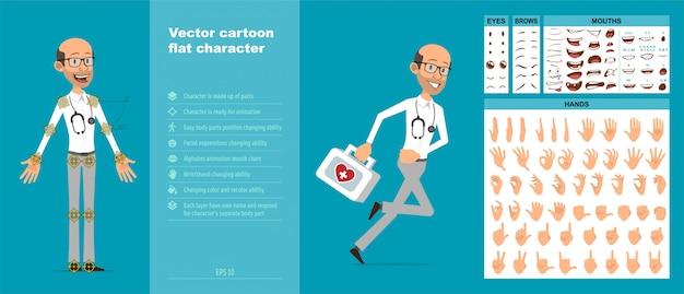 Cartoon scientist or doctor character vector set