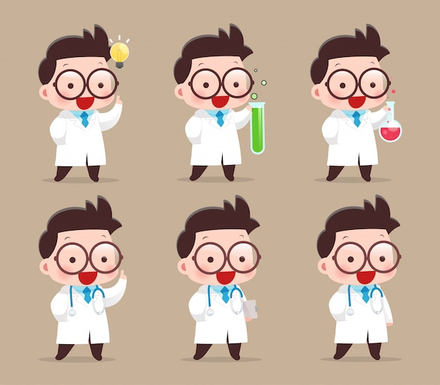 Cartoon scientist with test tube and science experiments