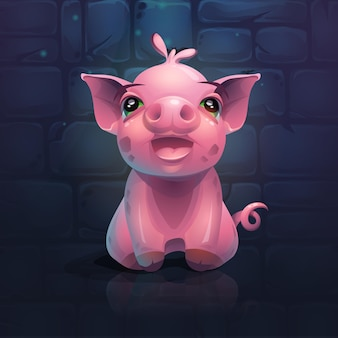 レンガの壁の背景に豚を叫んで漫画