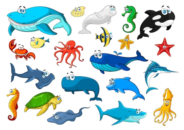 Cartoon sea animals icons illustration