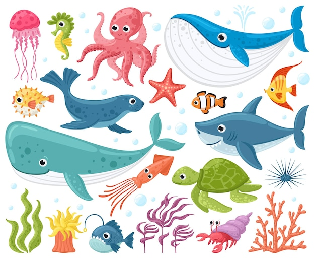 Мультяшные морские животные, изолированные на белом фоне