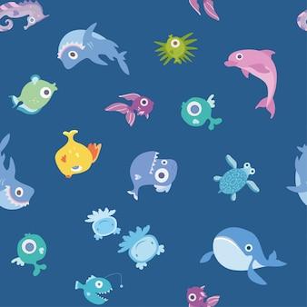 漫画の海の動物、シームレスなパターン。クジラ、サメ、イルカ、その他の魚や動物。背景イラスト。