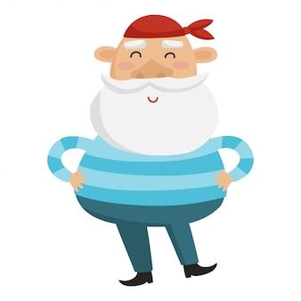 Cartoon sea captain  illustration.