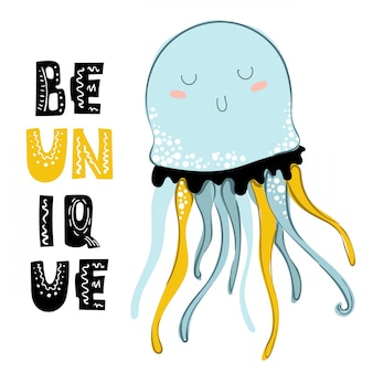 Cartoon sea jellyfish, card template