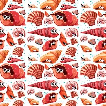 多くの異なる貝殻のキャラクターと漫画の海の生活のシームレスなパターン