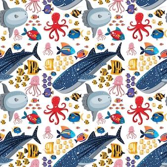 Мультфильм морской жизни бесшовные модели с морскими животными