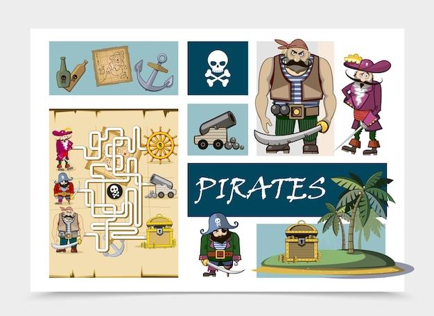 Concetto di pirati del mare del fumetto con bottiglie di rum mappa ancoraggio teschio ossa incrociate cannone scrigno del tesoro sull'isola pirata labirinto illustrazione