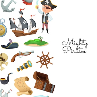 Cartoon sea pirates. pirate treasure pattern for children