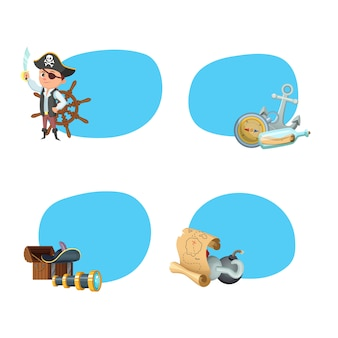Cartoon sea pirates stickers