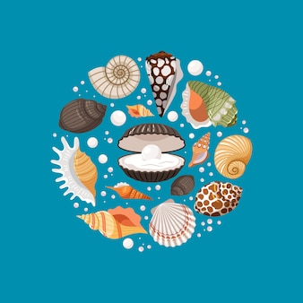 Cartoon sea shells round banner