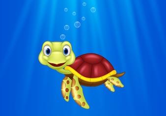 Cartoon sea turtle swimming in the ocean