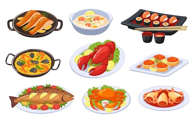 만화 해산물 요리 아시아 음식과 요리 스시 랍스터 연어 새우 수프 구운 생선 벡터 세트