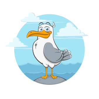 Cartoon seagull character