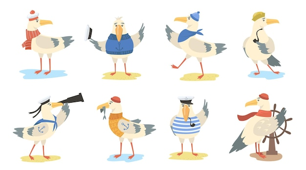 Cartoon seagull set. different actions of bird wearing sailor costumes and hats. flat illustration