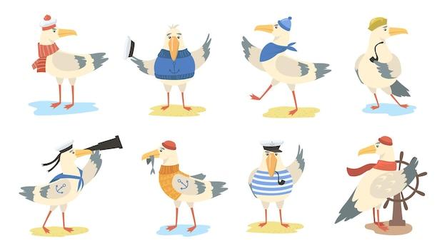 漫画のカモメセット。船乗りの衣装と帽子をかぶった鳥のさまざまな行動。フラットイラスト