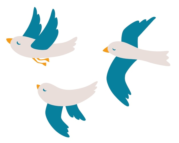 漫画のカモメセット。孤立した白い背景の上を飛んでいる大西洋の海鳥。鳥のアイコン。海、海、カモメ。