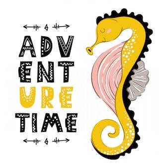 Cartoon seahorse, card template