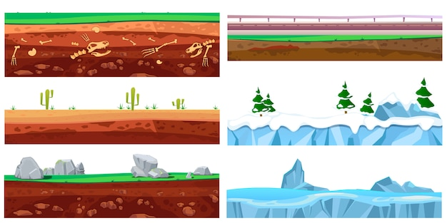 Бесшовные текстуры пейзаж мультфильм