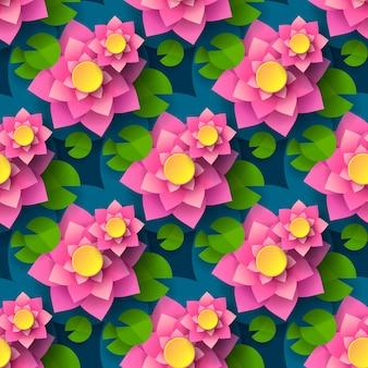 Мультфильм бесшовные фон лотоса для полиграфического дизайна. декоративный элемент. абстрактный бесшовный фон. векторная печать. бесшовные цветочный узор.