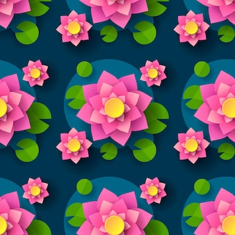 Cartoon seamless lotus background for printing design. decorative element. abstract seamless background. vector printing. seamless floral pattern.