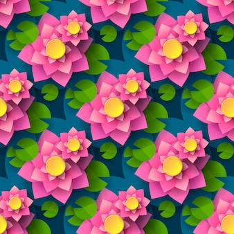 Cartoon seamless lotus background for printing design.