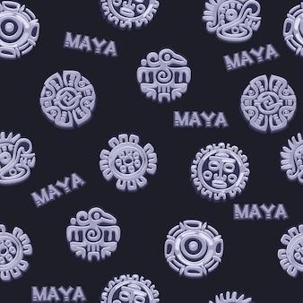 漫画のシームレスなパターン古代メキシコの神話のシンボル、さまざまなアメリカのアステカのシンボル、マヤ文化のネイティブトーテム。ベクトルアイコン。
