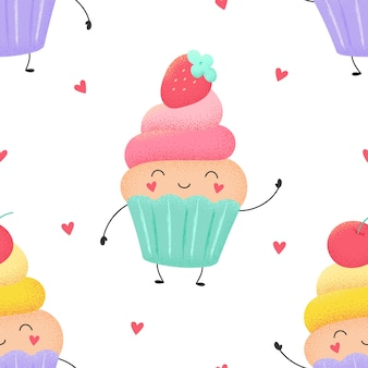 Cartoon seamless pattern of funny cupcakes, muffins with strawberries and cherries.