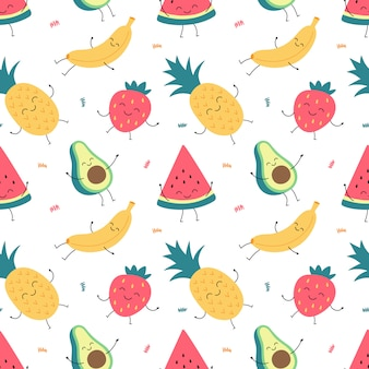 Cartoon seamless pattern of funny fruits, banana, watermelon, pineapple, avocado, strawberries.