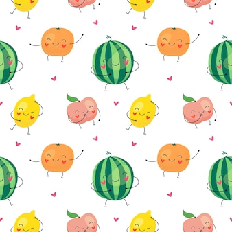 Cartoon seamless pattern of funny fruits, watermelon, lemon, peach, orange.