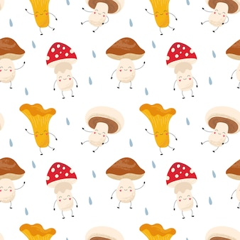Cartoon seamless pattern of funny mushrooms chanterelles, amanita, champignons, porcini. forest after rain. print for packaging, fabric, wallpaper, textile.