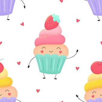 面白いカップケーキ、イチゴとチェリーのマフィンの漫画のシームレスなパターン。