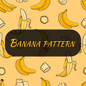 Cartoon seamless pattern with banana